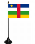 Central African Republic Desk / Table Flag with plastic stand and base.